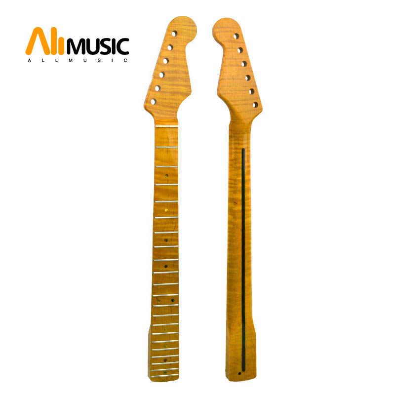 21 Fret Neck WIith Abalone Dots Yellow Glossy Tiger Flame Maple For ST Electric Guitar Neck