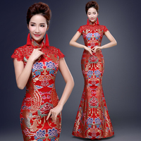 New Fashion Red Chinese Wedding Dresses Vintage Traditional Chinese Women Long Cheongsam Qipao Elegant Banquet