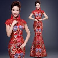 New Fashion Red Chinese Wedding Dresses Vintage Traditional Chinese Women Long Cheongsam Qipao Elegant Banquet