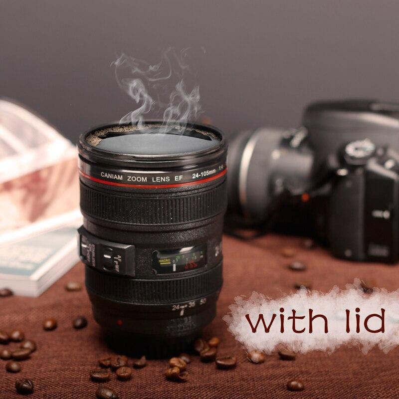 New Canam SLR Camera Lens 24-105mm 1:1 Plastic Coffee Cup MUG 400ML Creative Cup and Cup Cover M102 Mug Tazas Cafe Gift Mug
