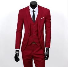 Blazers Pants Vest Set)2019 New Fashion Three Piece Suit Men Sets  Male Business Casual Coat Jacket Waistcoat Trousers Blazer