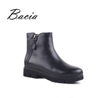 Bacia Warm Wool Fur Ankle Boots For Winter Black Full Grain Leather With Zipper Female Brief