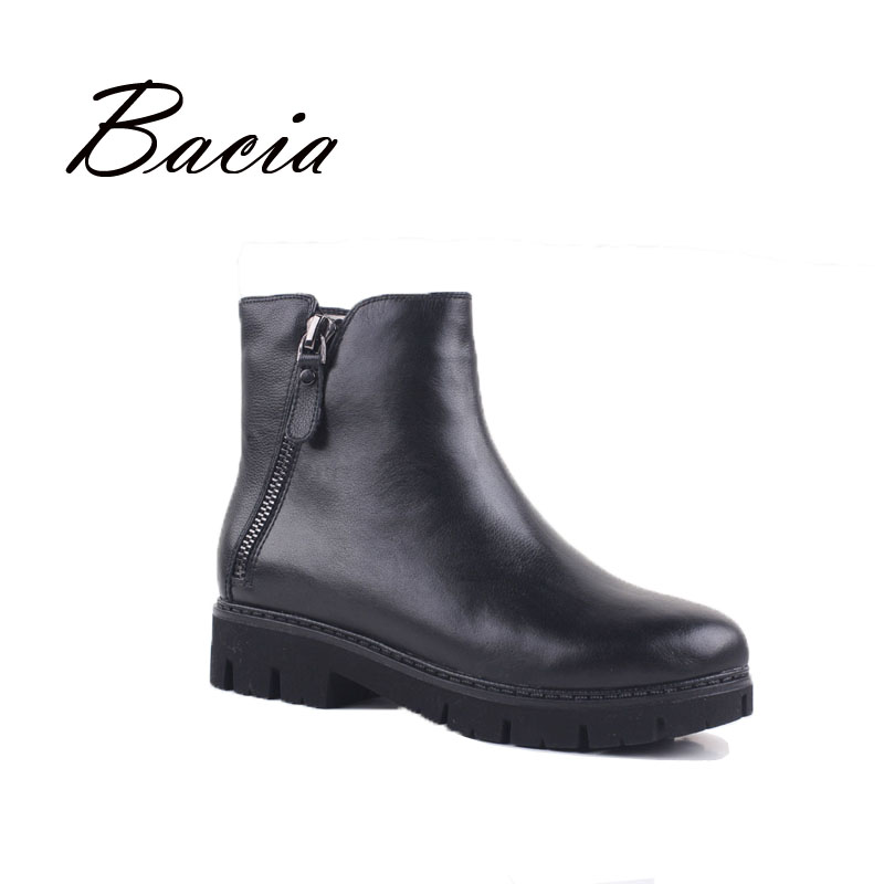 Bacia Warm Wool Fur Ankle Boots For Winter Black Full Grain Leather with Zipper Female Brief Design Fashion Style Shoes VD022 girls and ladies favorite white roller skates with full grain genuine leather dual lane roller skate shoes for adult skating