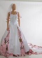 Tiras rosa vestidos de noiva camo 2018 camuflagem vestidos de noiva vestido de noiva costume fazer tamanho 0 frete grátis