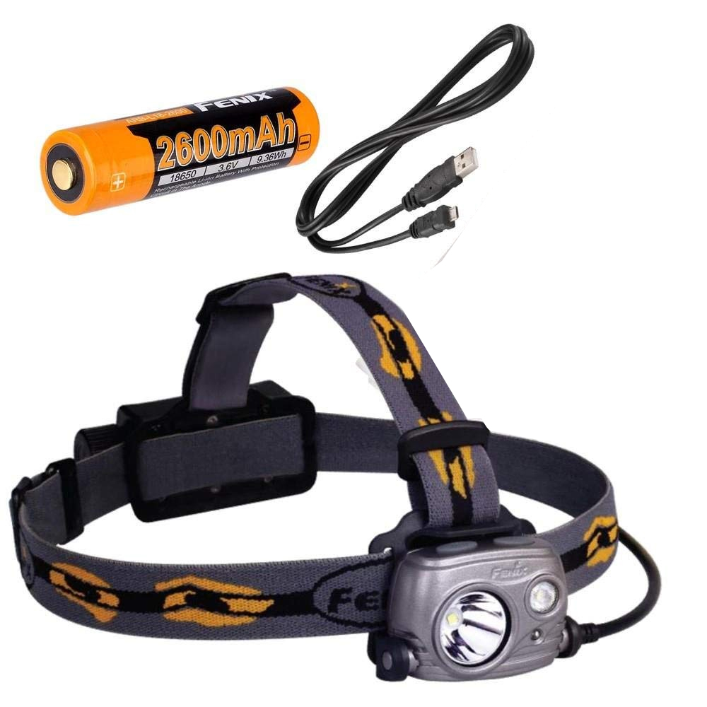 Fenix HP25R 1000 Lumen USB rechargeable CREE LED Headlamp, with 1 X Fenix 2600mAh 18650 rechargeable Li-ion batteries fenix hp25r 1000 lumen headlamp rechargeable led flashlight