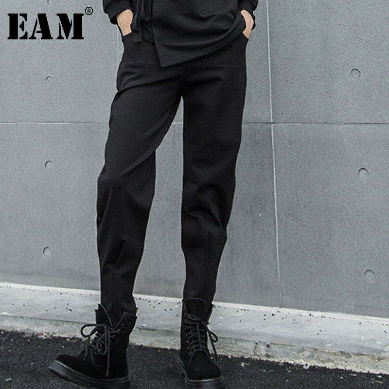 [EAM] 2019 Autumn Winter Woman Stylish New Solid Black Color Long Loose High Waist Straight Pockets Harem Pants All Match LG006