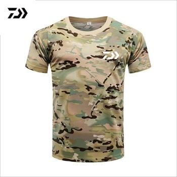 Мужская футболка DAIWA Fishing, летняя мужская камуфляжная одежда с коротким рукавом для рыбалки, Спортивная дышащая быстросохнущая одежда для рыбалки