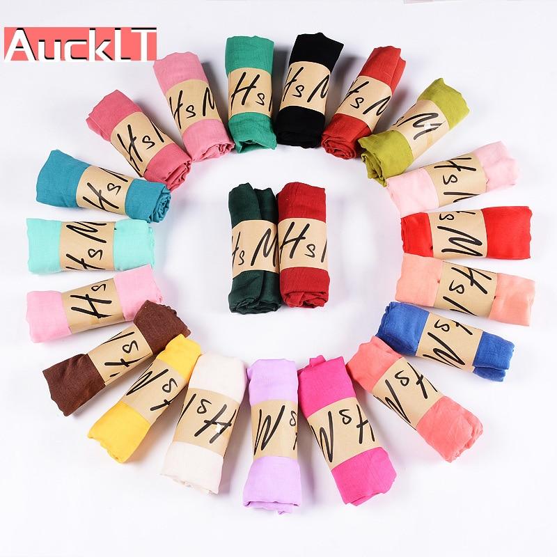 Nueva bufanda de lino de algodón Color sólido monocromo de Color caramelo bufanda de seda para mujer bufanda de regalo hermosas bufandas CA-01