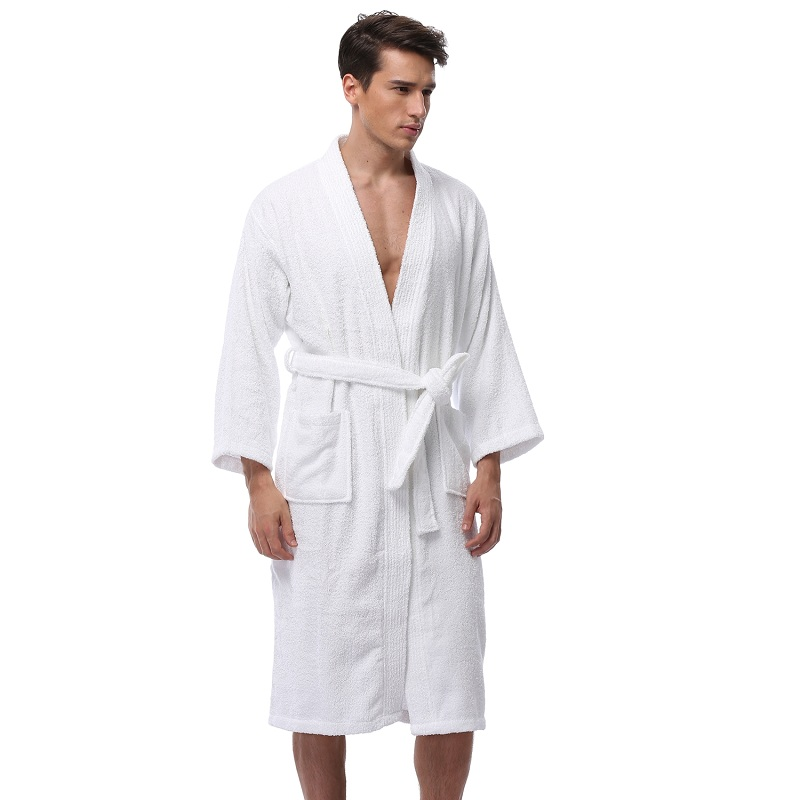 Men s Kimono Bathrobe Turkish Cotton Robes Plus Size Lightweight Long Robe  For Men Absorption After Shower Bathrobe Sleepwear-in Robes from Underwear  ... 64d8f49f8