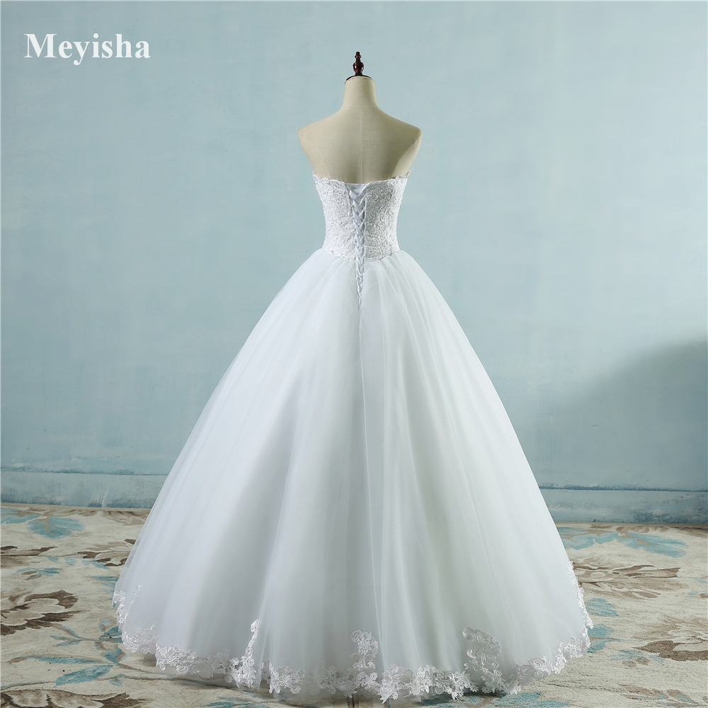 ZJ9081 2017 lace Bottom White Ivory Prom Gown Lace up back Wedding ...