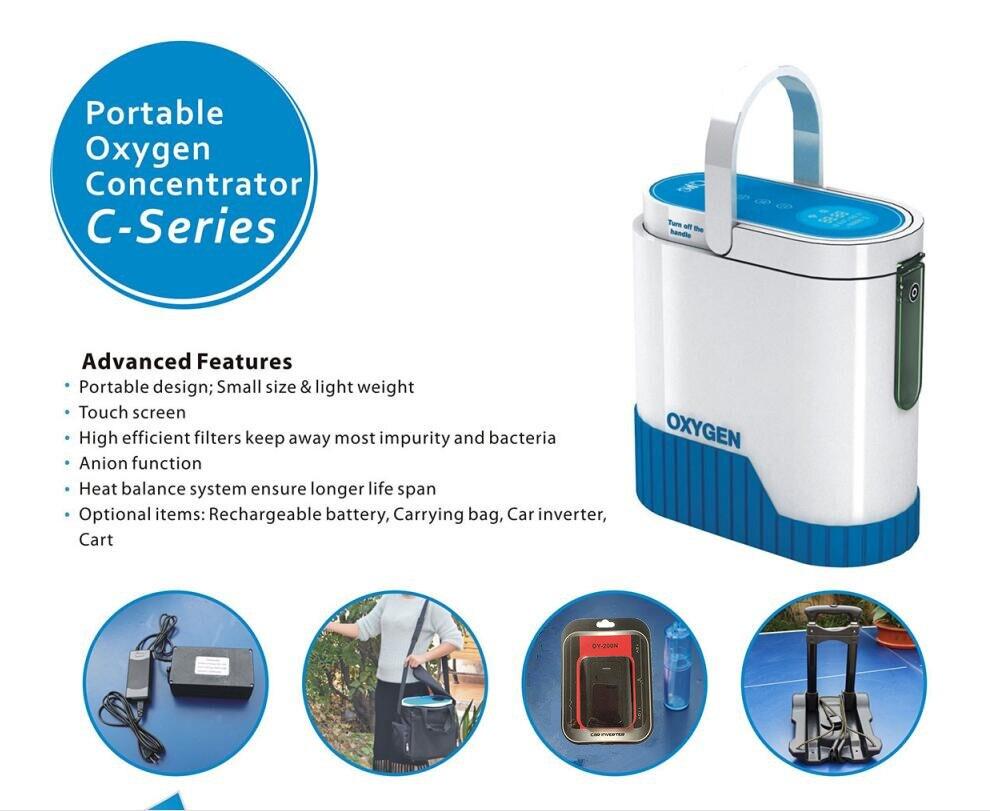 Recentes 1-5L XGREEO Concentrador de Oxigênio Portátil com bateria de carro inversor trolley e bolsa para transporte Mudo bar de oxigênio tanque de oxigênio