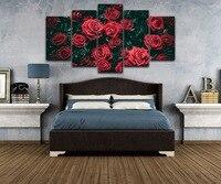الحديث قماش إطار hd يطبع زهرة ملصق جدار الفن الجميل 5 أجزاء الورود الحمراء الصور المشهد غرفة المعيشة ديكور المنزل