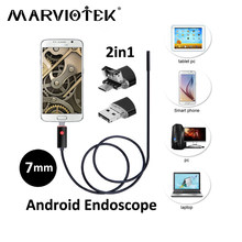 7mm 2 in 1 USB Endoscoop camera 2 M/5 M/10 M endoscoop android camera Telefoon OTG USB Borescope Inspectie Snake auto endoscoop camera(China)