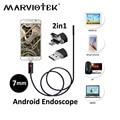 7mm 2in1 USB del endoscopio Cámara 2 m/5 m/10 m endoscopio Cámara android Teléfono OTG USB inspección boroscopio serpiente coche endoscopio cámaras
