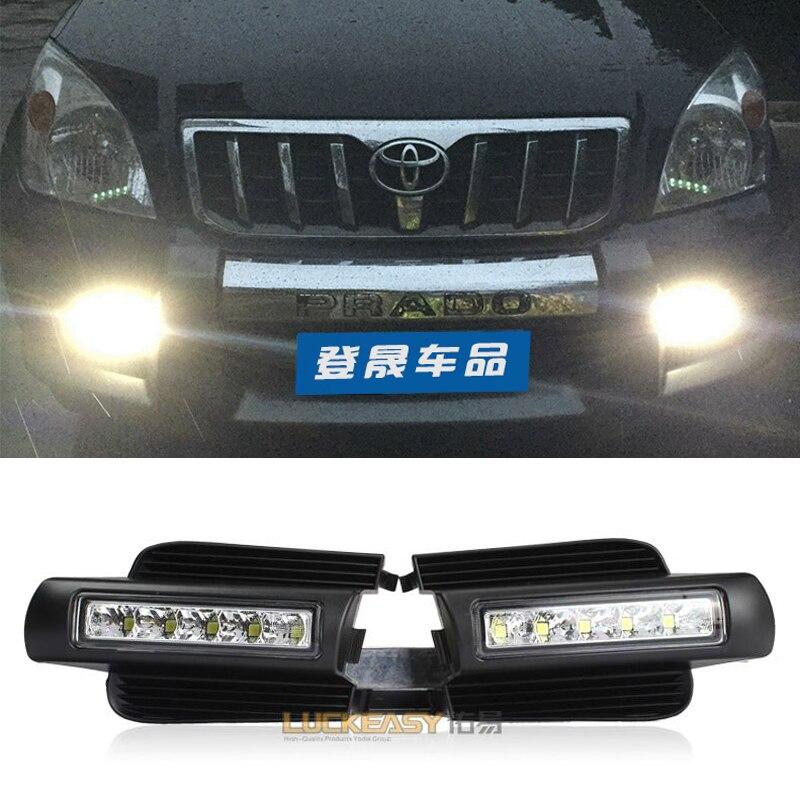 ФОТО Hireno Super-bright LED Daytime Running Light for Toyota Land Cruiser Prado 2003 2004 2005 2006 -2009 Car LED DRL fog lamp 2PCS