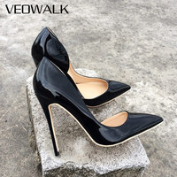 Veowalk Brand Women Fashion D'Orsay High Heels Ladies Pointed Toe Evening Dress Stilettos Gloss Patent Leather Pumps   Shoes