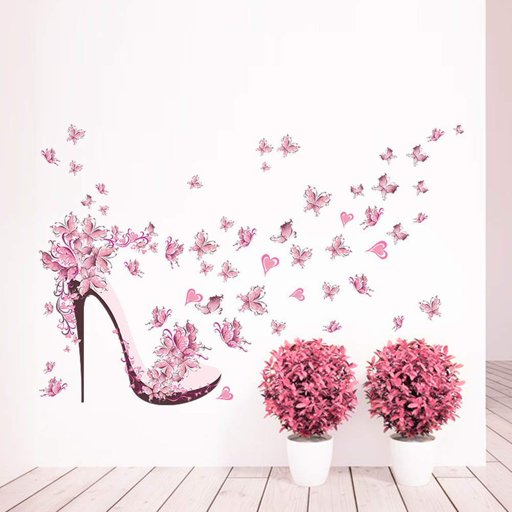 Pink Butterfly High Heel Wall Stickers Bedroom Living Room Decorating Colorfastness Sticker Mothproof Waterproof Back Decor