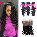 Pre Plucked Lace Frontal Weave Loose Wave Curly Peruvian Virgin Hair With Frontal Closure 360 Lace Frontal Closure With Bundles