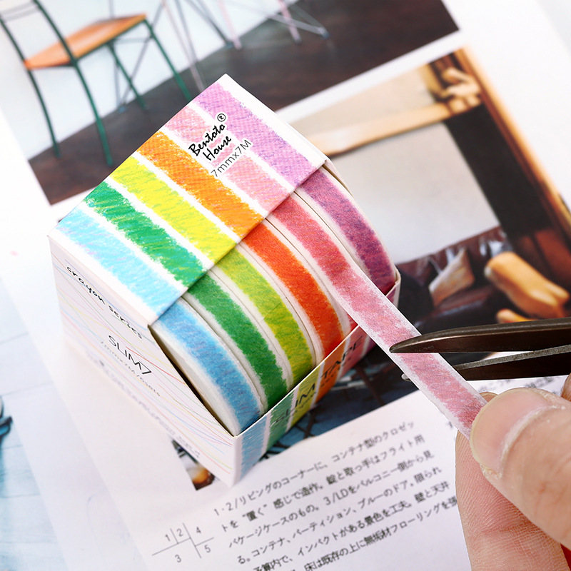 6pcs Crayon Series Color Paper Washi Tape Set 7mm Slim Adhesive Masking Tapes Stickers Decoration For Journal Album Diary A6934