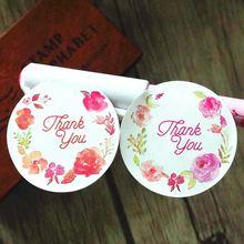 120 шт/лот ярлык с надписью «thank you» из розовых цветов клейкая