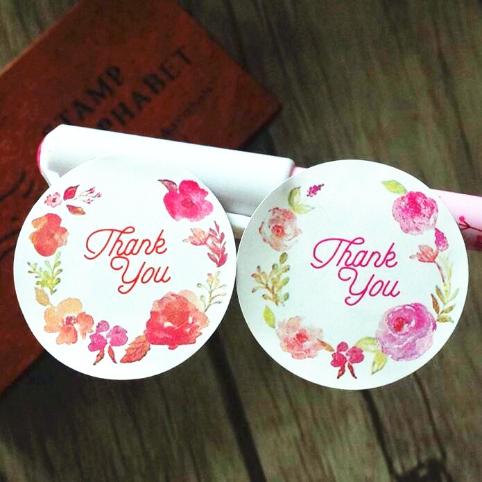 120pcs/lot Rose Flower Thank you sealing label Adhesive Kraft Baking Seal Sticker gift stickers students' Funny DIY Work 2017 hot sale 240pcs lot yellow pink thank you design sticker labels food seals gift stickers for wedding seals free shipping