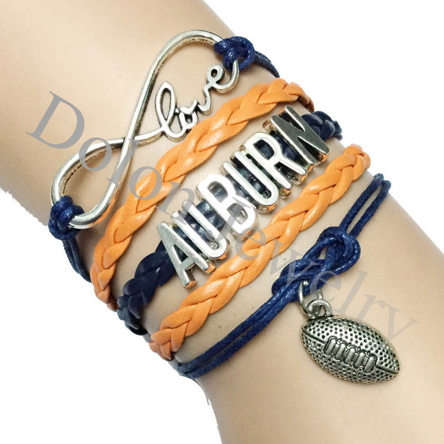 10pcs Dark Blue With Orange Leather Rope Infinity Love Auburn University School Football Team Bracelet