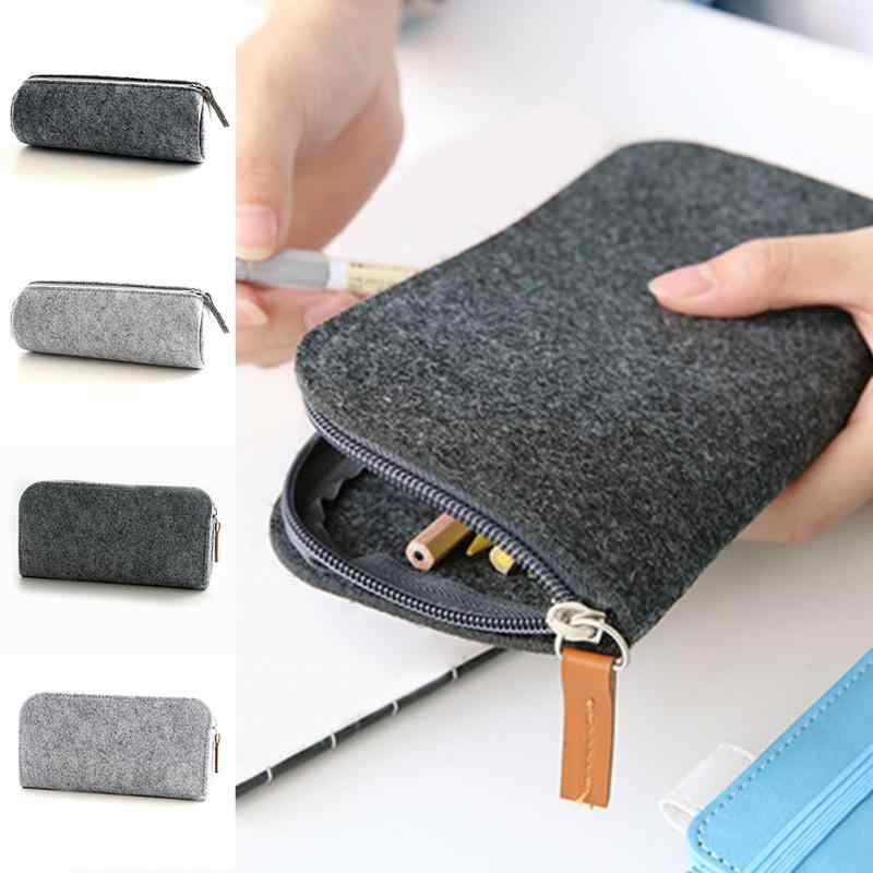 21a9a512f3 Felt Zipper Cosmetic Makeup Bag Students Pencil Case Pen Bag Girls Boys  Stationery Organizer Bag School