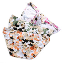 Cotton Underwear Mens Briefs Sexy Floral Printed Underpants Homme Cueca Breathable Low rise Panties 3pcs/pack Summer