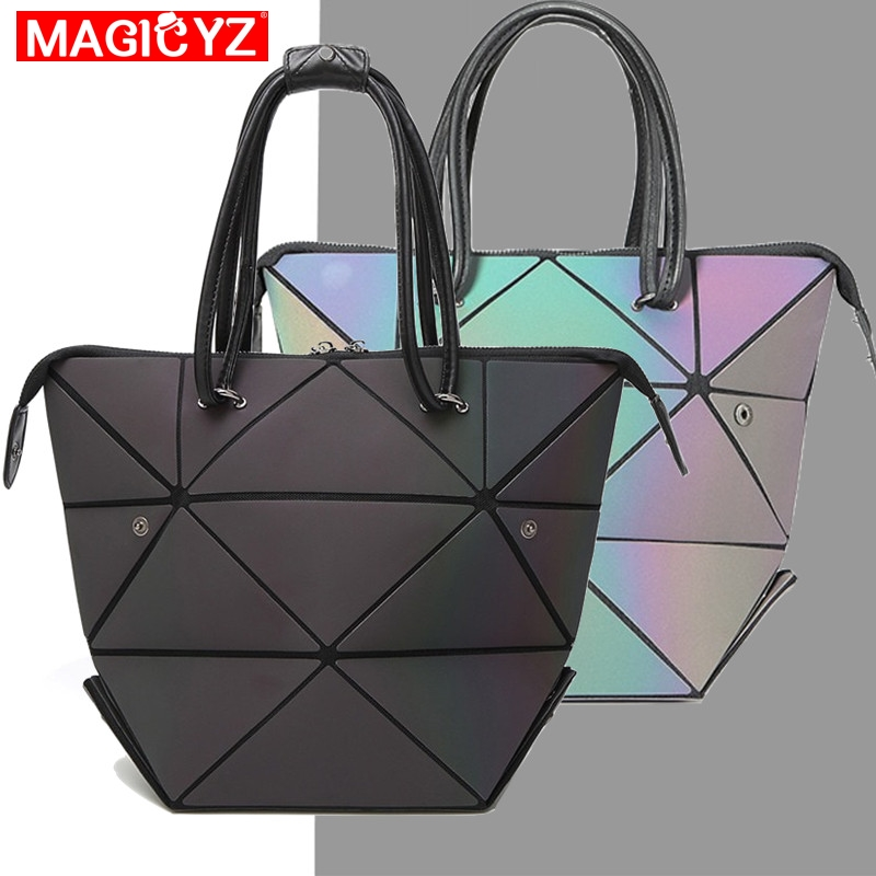 MAGICYZ Women Handbag Luminous Geometric Fold Over Bag Luxury Brand Women Handbag Designer Diamond Lattice Woman Shoudler Bags