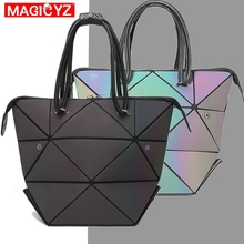 MAGICYZ Women Handbag Luminous Geometric Fold Over bag Luxury Brand Designer Diamond Lattice Woman Shoudler Bags