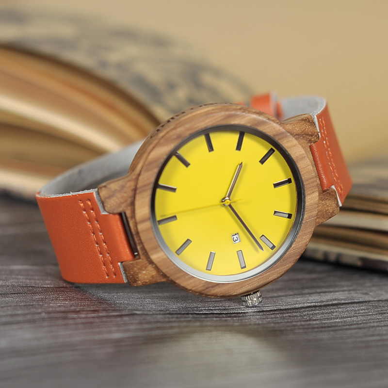 BOBO BIRD Unisex Yellow Dial Wood Watch with Leather Strap