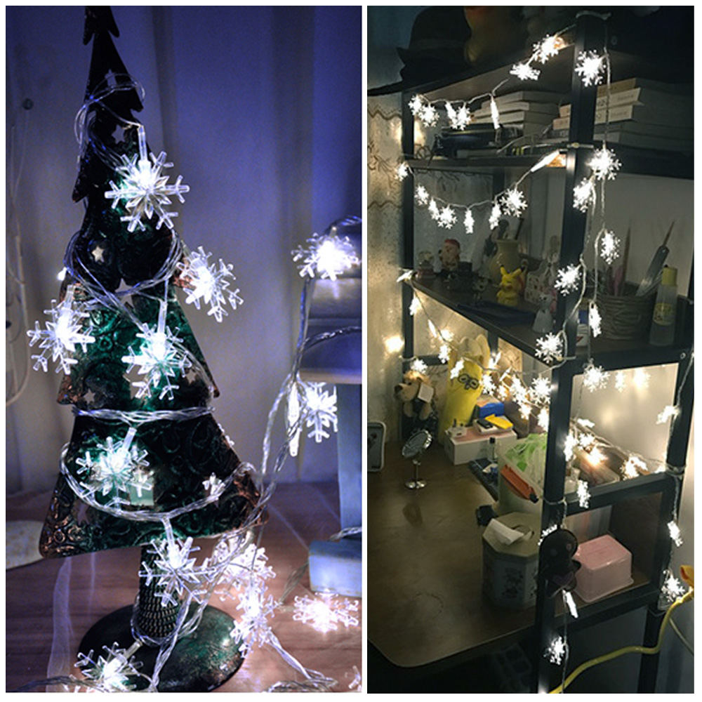 New Fairy Tale Garland LED Snowflake String Lights Waterproof For Christmas Tree Wedding Home Indoor Decoration