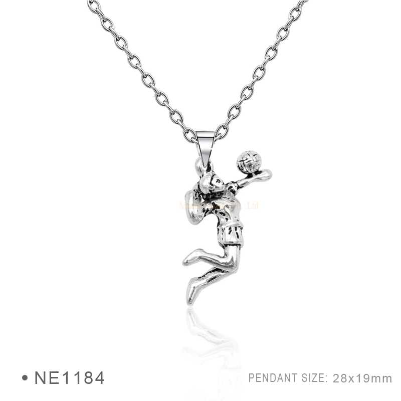 (10 pcs/lot) Volleyball Girl Player Tennis Badminton Mom Pendant Necklaces Silver Chain Necklaces For Women Statement Necklaces