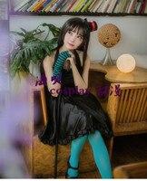 K-ON! Mio Akiyama elbise Cosplay Kostüm ile şapka ve eldiven ve çorap