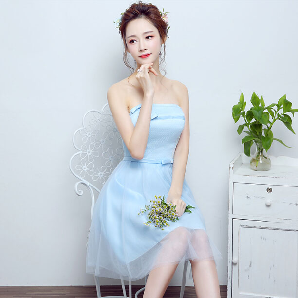 14380bdb0d8 girls bridesmaid fairytale straples short sky blue dress girl bridesmaids  dresses made in china lace gowns 2017 ladies S3726