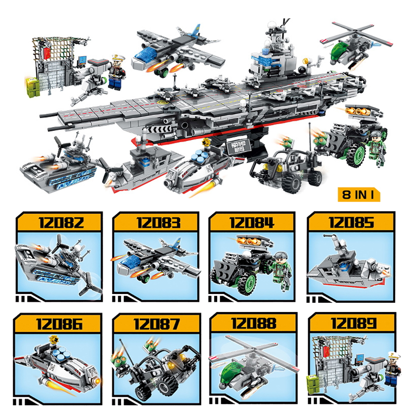 836pcs 8 in 1 Military Army Warship Model Assemble Building Blocks Compatible Legoed Helicopter Tank Bricks Kids Toys Xmas Gift sluban 883pcs military series army navy warship model building blocks cruiser plane carrier bricks gift toys for children