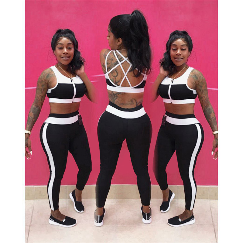 Womens Tracksuit Sets 2 Two Piece Set Summer Sweat Suits Criss Cross Back Crop Top and Pant Leisure Fitness Set Workout Clothes
