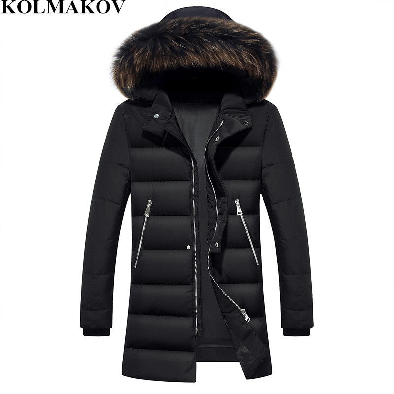 KOLMAKOV 2018 New 90% White Duck   Down     Coats   for Men Winter Thickening Mens Long Black Hooded Parkas M-3XL Warm Overcoats Male