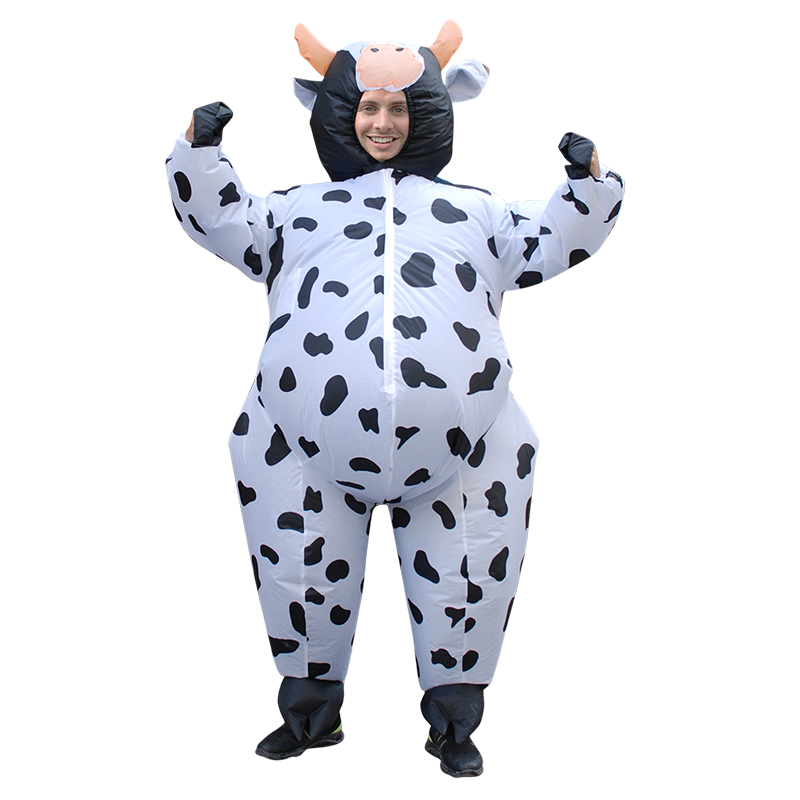 Inflatable Cow Costume for Women Adult Unisex Anime Fancy Dress Air Blown Milk Cattle Carnival Party