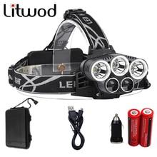 Litwod Z302309A 15000lm Led Head Lamp 3T6+2LST Alu-alloy Body Headlamp Headlight 6 Mode Head Light Torch 18650+USB+MINI Car+Box