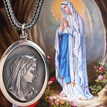 S925 серебряные Ретро Для мужчин и Для женщин модные Девы Марии Цепочки и ожерелья Иисус католический бренд святая подвеска