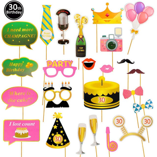 Online Shop Lincaier Photo Booth Props Kids Happy Birthday Party
