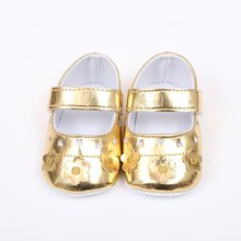 Spring Summer Newborn Baby Girls Shoes PU leather Buckle First Walkers Pink Gloden Silver(China)