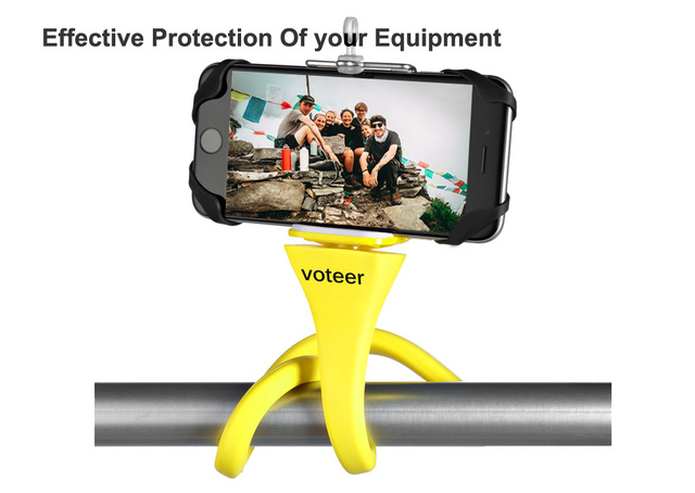 Flexible Bluetooth Selfie Stick Tripod, can be wraped around multiple surfaces.