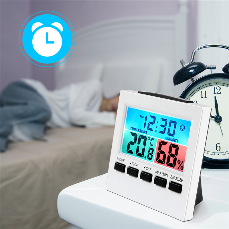 Digital Alarm Clock with Temperature Thermometer Humidity Hygrometer Decorative Table Alarm Clock