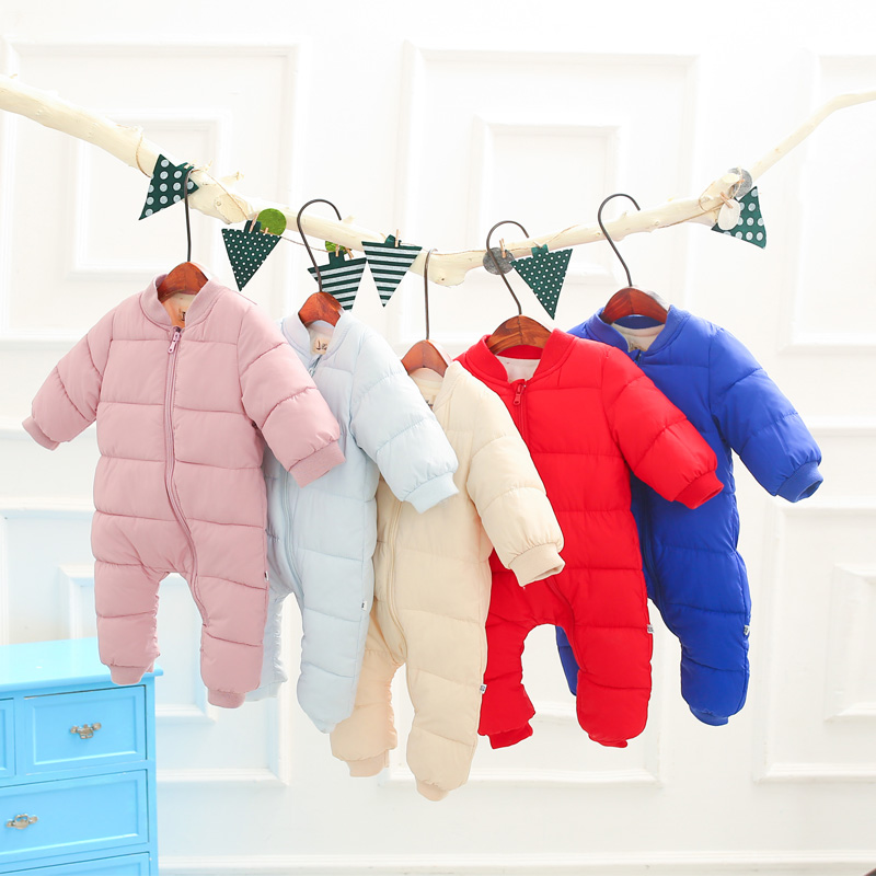 Newborn Snowsuit Baby Rompers Winter Overalls For Baby Clothes,Baby Girl/ Boy Snowsuit Warm Winter Jumpsuit Toddler Out Wear baby christmas reindeer cotton snowsuit with hat newborn baby girl boy clothes skiing snowsuit for boys winter coats and jackets