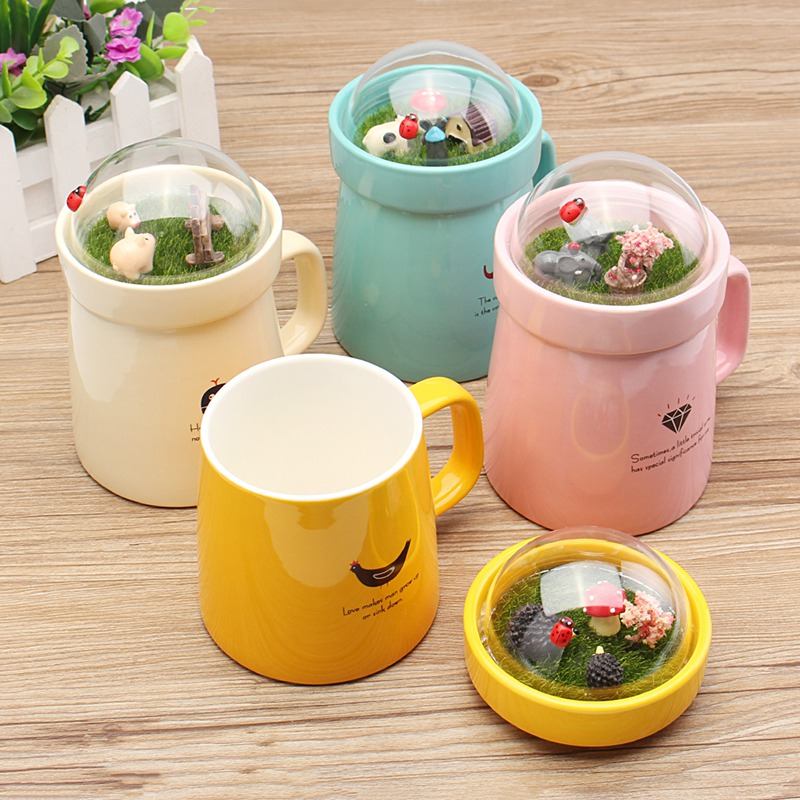 New!! 400mll Micro Landscape Ceramic Mug Milk Coffee Tea Mug Lovely Animal Big belly Mark Water Drinking Mug Gift Home Office