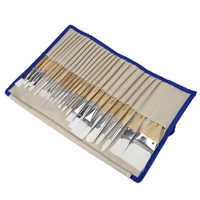 CONDA Paint Brushes 24 Pcs/Set Art Brush Watercolor Oil Acrylic Paints Professional Nylon Short Wood Handle with Brush Case