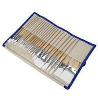 Pinceles de pintura CONDA 24 unids/set pincel de arte acuarela aceite pinturas acrílicas mango de madera corto de nailon profesional con funda de cepillo