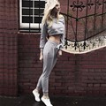 2016 New Autumn And Winter Slash Neck Casual Women Sets Clothes Short Sweatshirt + Full Length Pant Female Clothing Sets